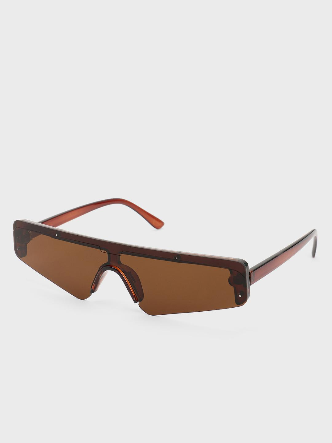 Pataaka Brown Sleek Futuristic Retro Sunglasses 1