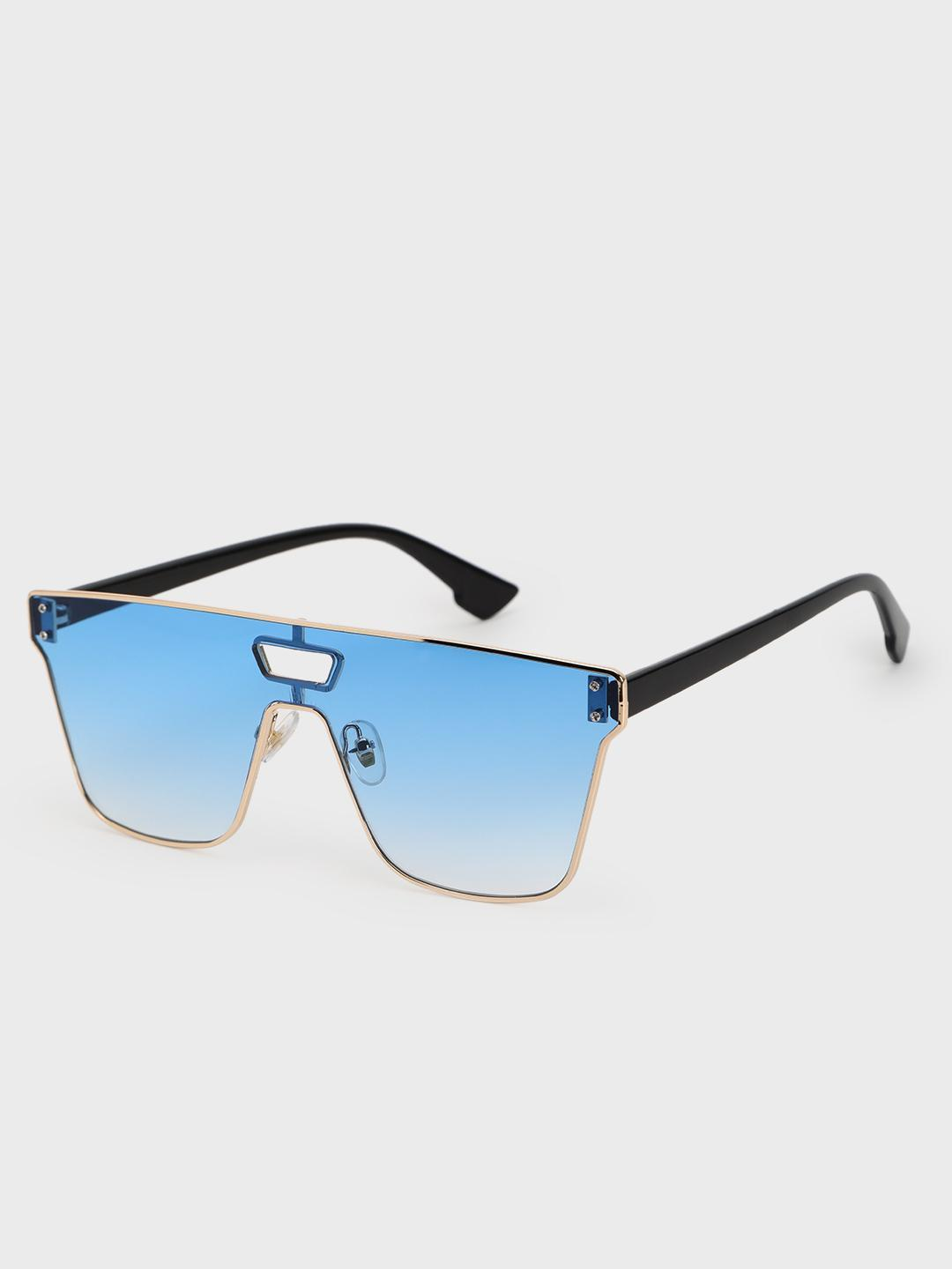 Pataaka Blue Metal Trim Frameless Classic Sunglasses 1