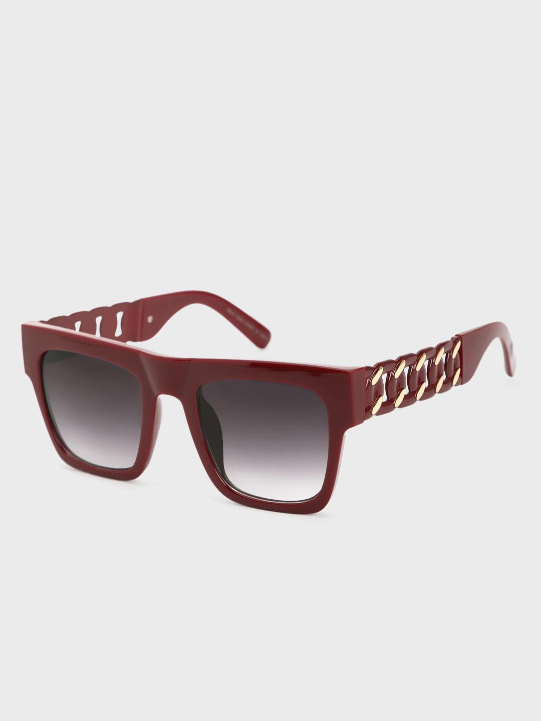 Pataaka Black Twisted Chain Temple Square Sunglasses 1