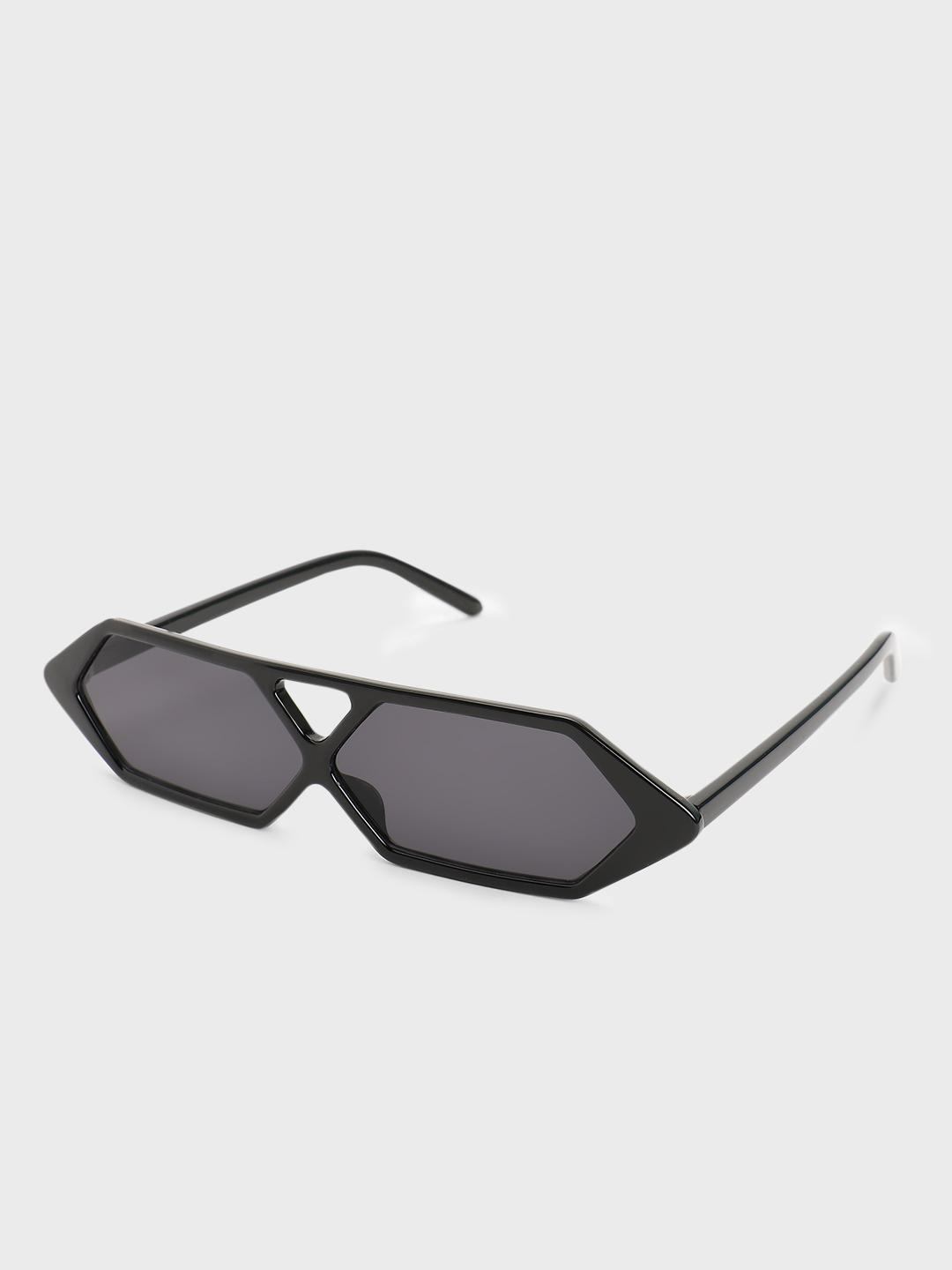 Pataaka Black Hexagon Frame Retro Sunglasses 1