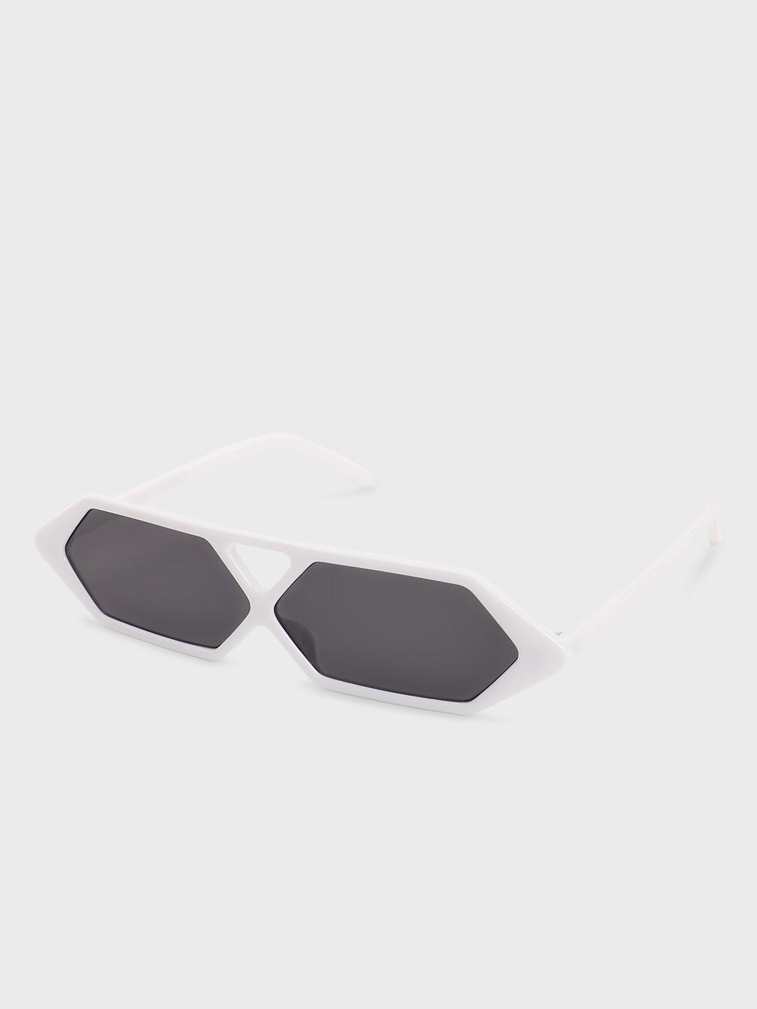 Pataaka White Hexagon Frame Retro Sunglasses 1