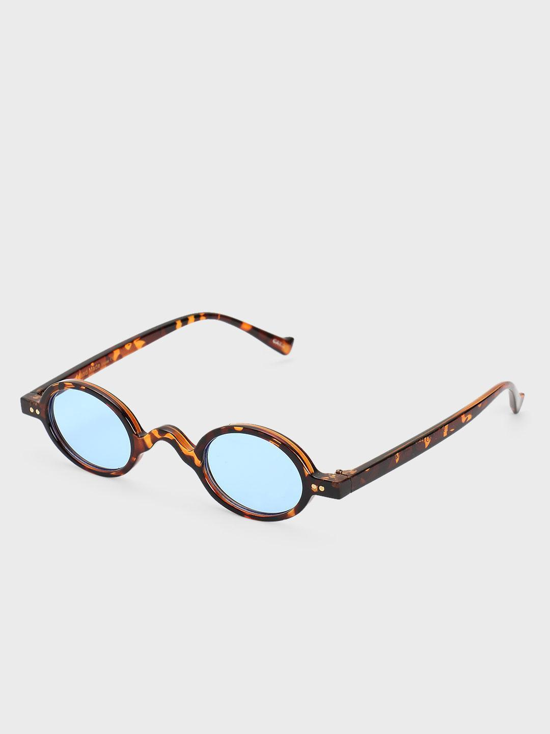 Pataaka Blue Textured Frame Round Sunglasses 1