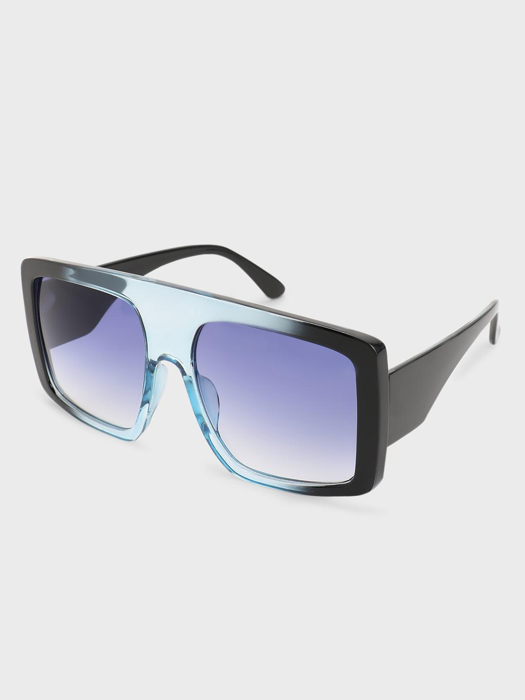 Pataaka Blue Tinted Wide Lens Square Sunglasses 1