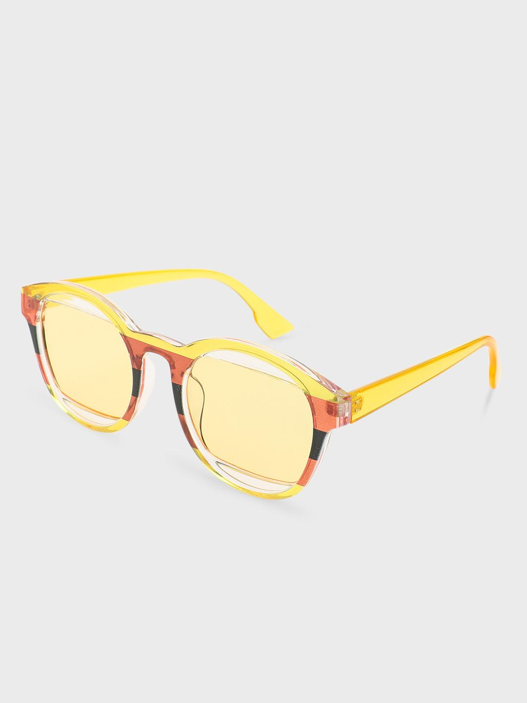 Pataaka Yellow Round Printed Frame Retro Sunglasses 1