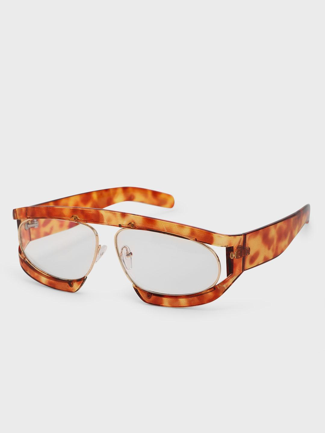 Pataaka Orange Textured Frame Retro Sunglasses 1