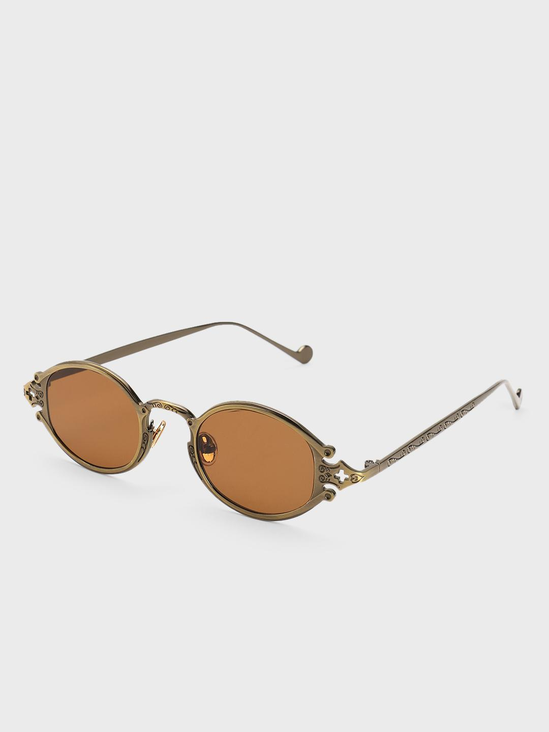 Pataaka Brown Antique Frame Round Sunglasses 1