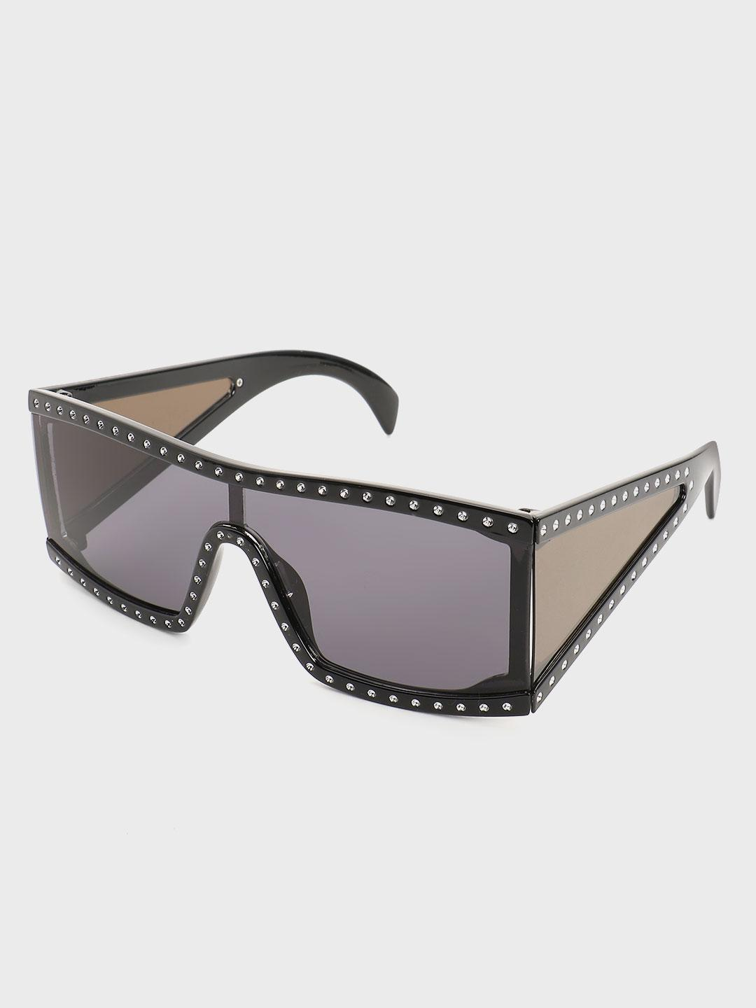 Pataaka Black Studded Frame Retro Sunglasses 1