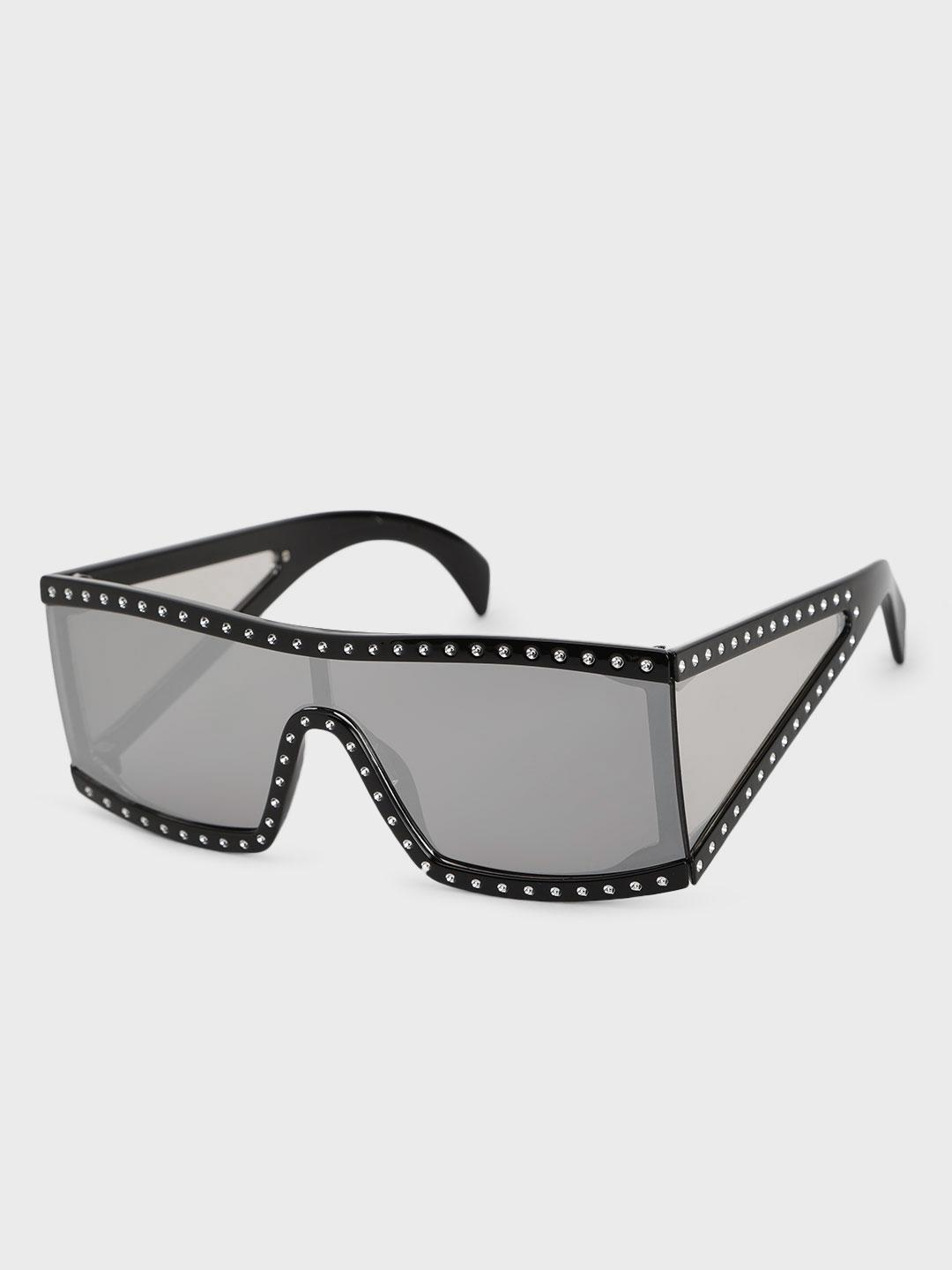 Pataaka Grey Studded Frame Retro Sunglasses 1