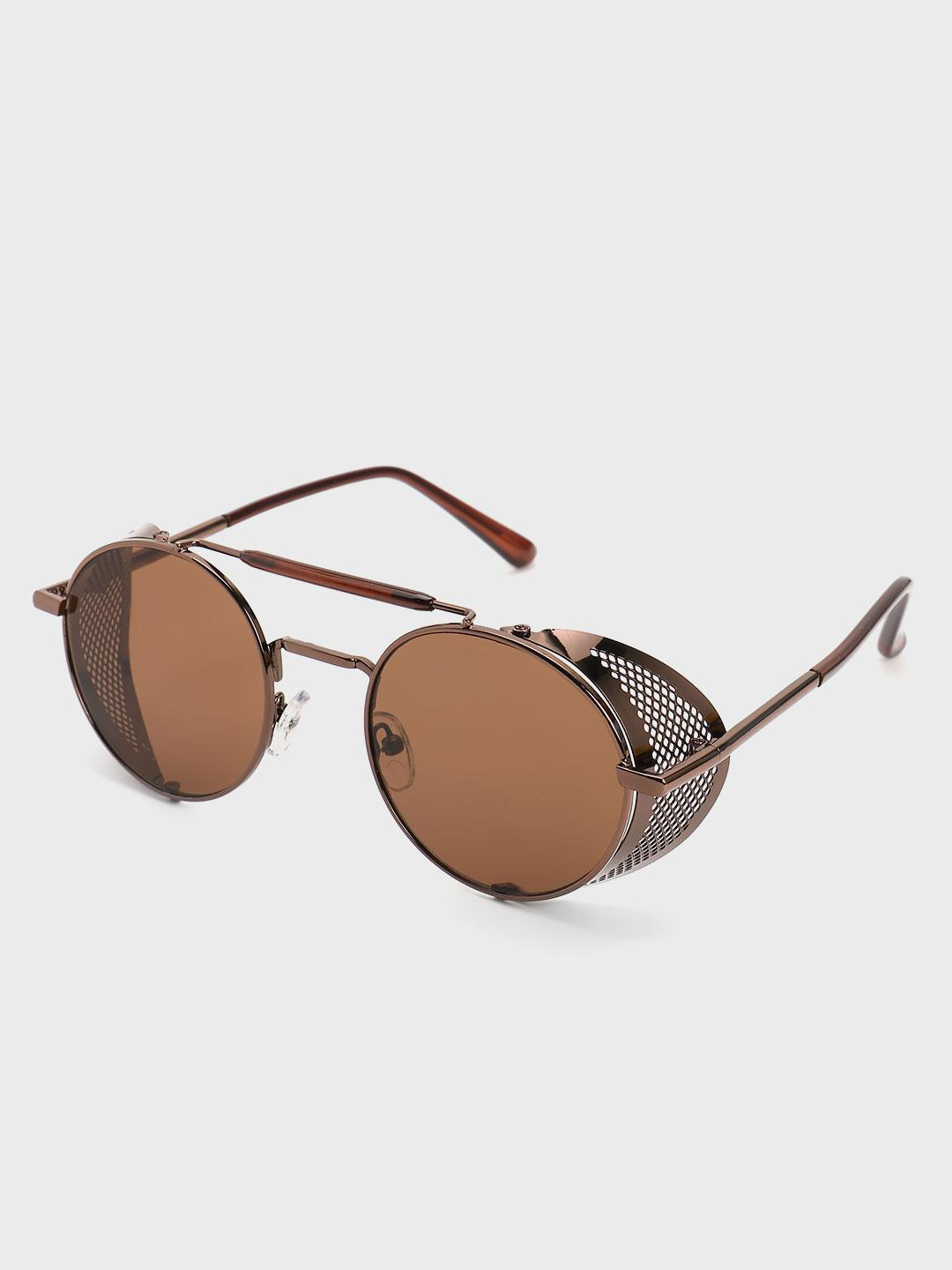 Pataaka Brown Side Shield Round Sunglasses 1