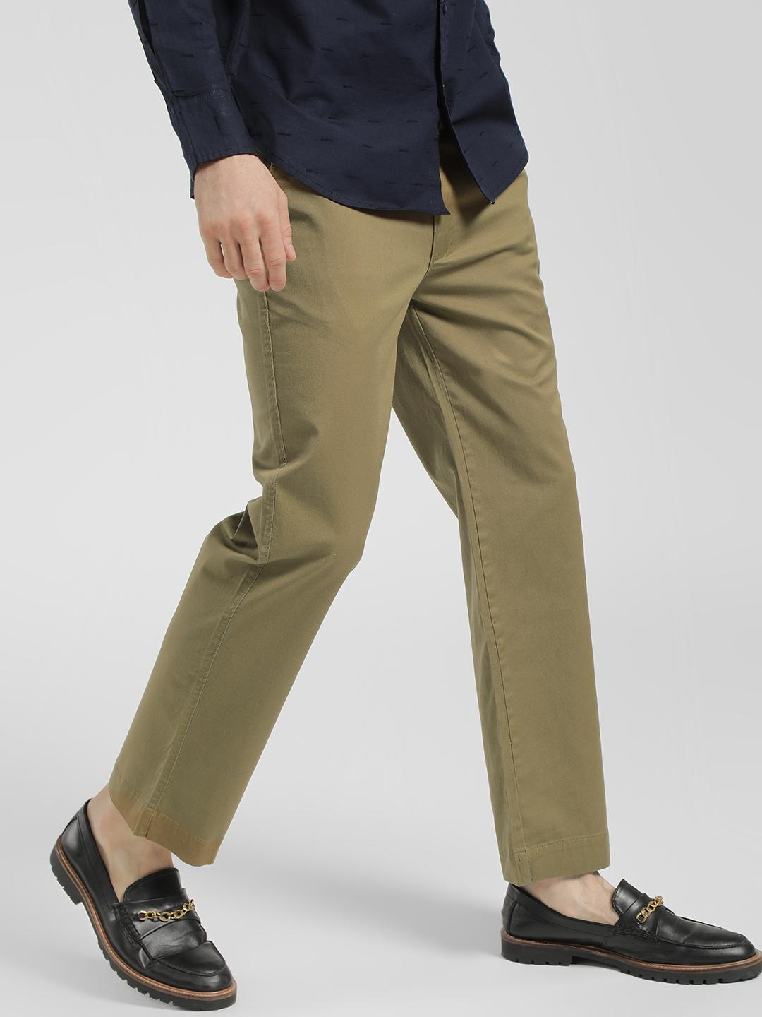 Spring Break Olive Basic Straight Cropped Trousers 1