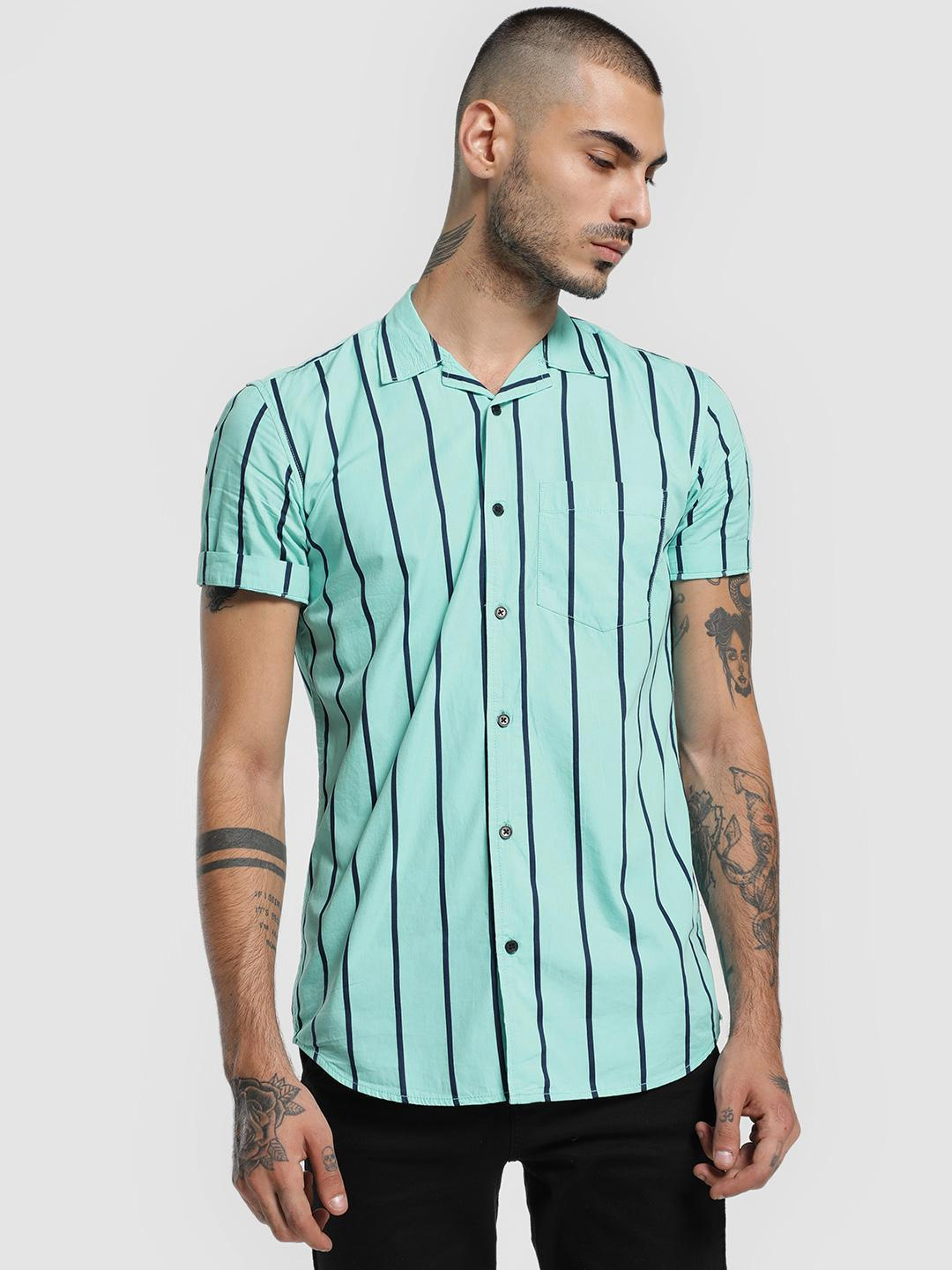 AMON MULTICOLOUR Vertical Stripe Cuban Collar Shirt 1