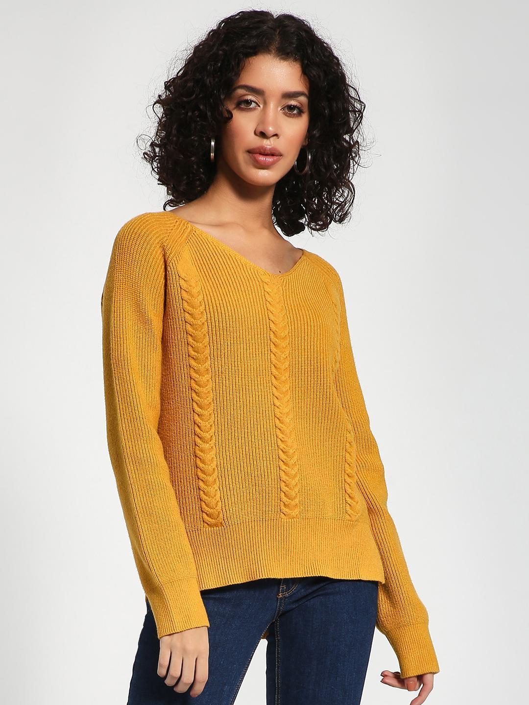 KOOVS Yellow Cable Knit V-Neck Jumper 1