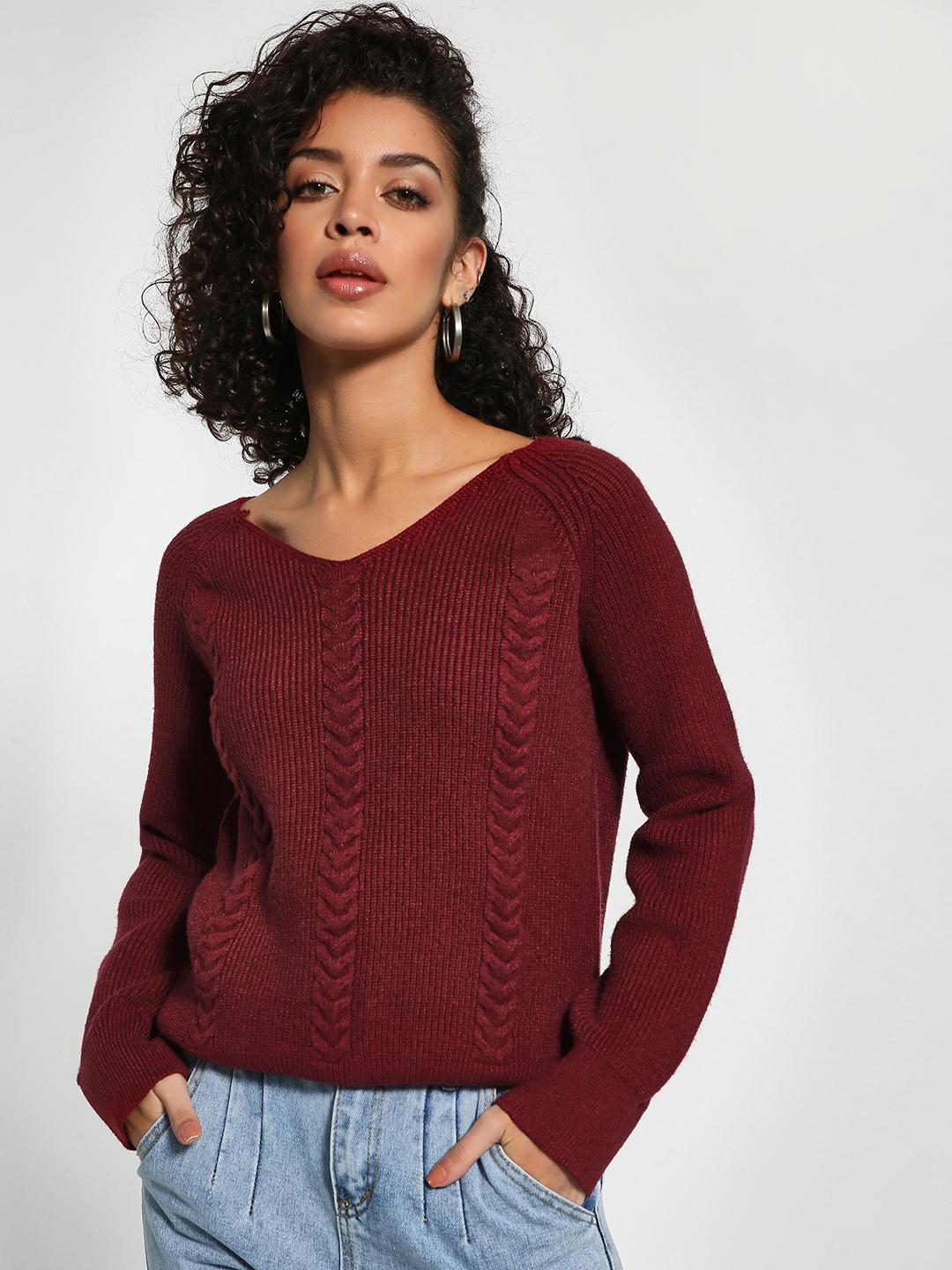 KOOVS Maroon V-Neck Knitted Jumper 1