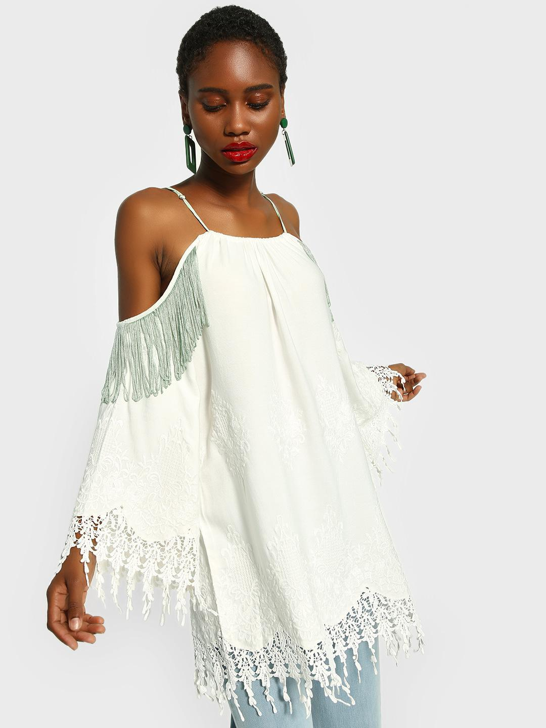 The Paperdoll Company White Cold Shoulder Lace Hem Blouse 1