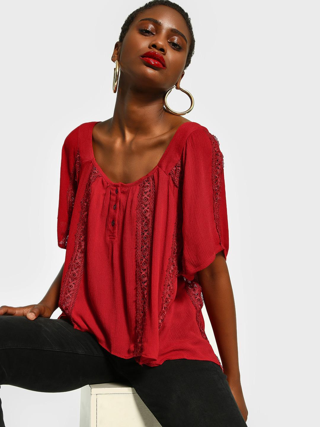 The Paperdoll Company Red Lace Trim Square Neck Blouse 1