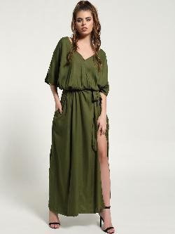 The Paperdoll Company Belted Wrap Over Slit Maxi Dress