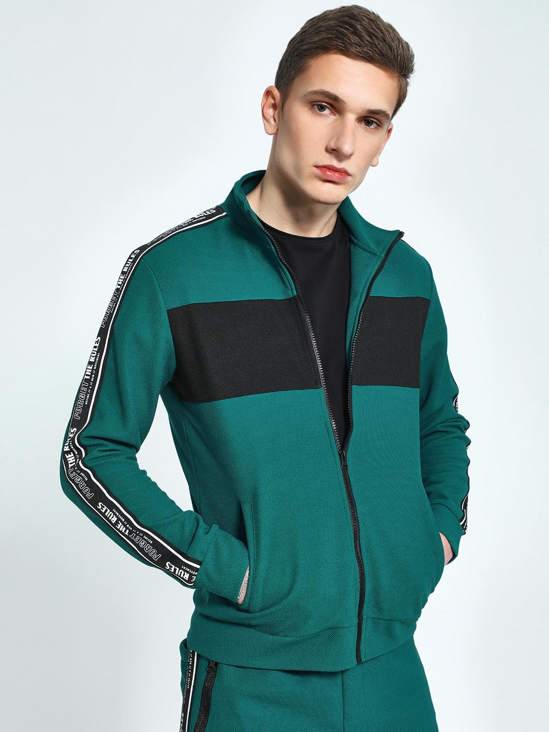 KOOVS Green Shoulder Text Tape Track Jacket 1