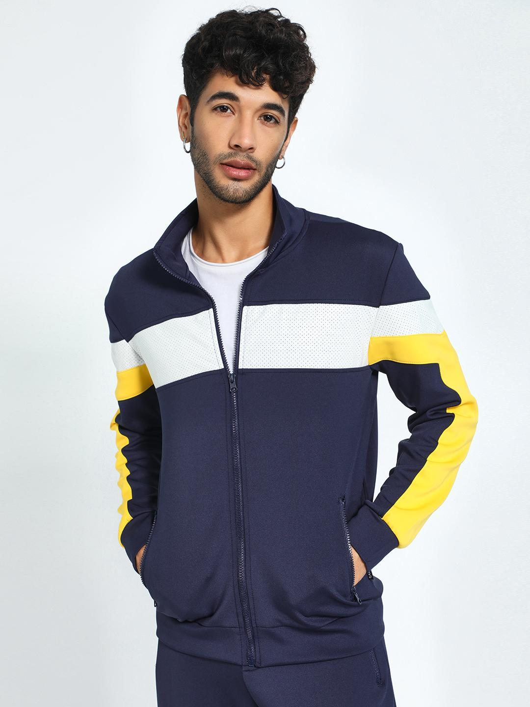 KOOVS Navy Perforated Contrast Panel Jacket 1