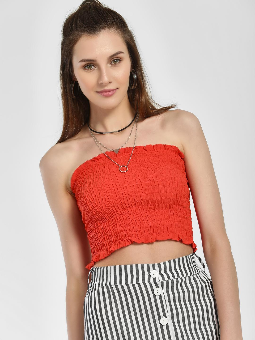 New Look Bright Red Shirred Effect Cropped Bandeau Top 1