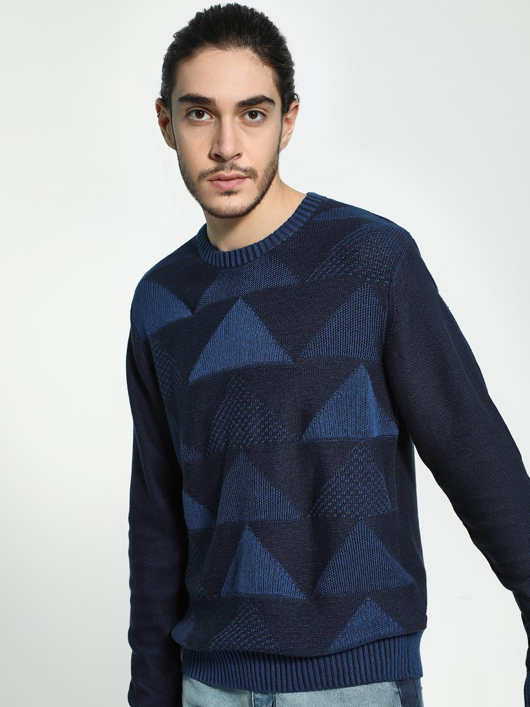 Akiva Navy Geometric Jacquard Knitted Pullover 1
