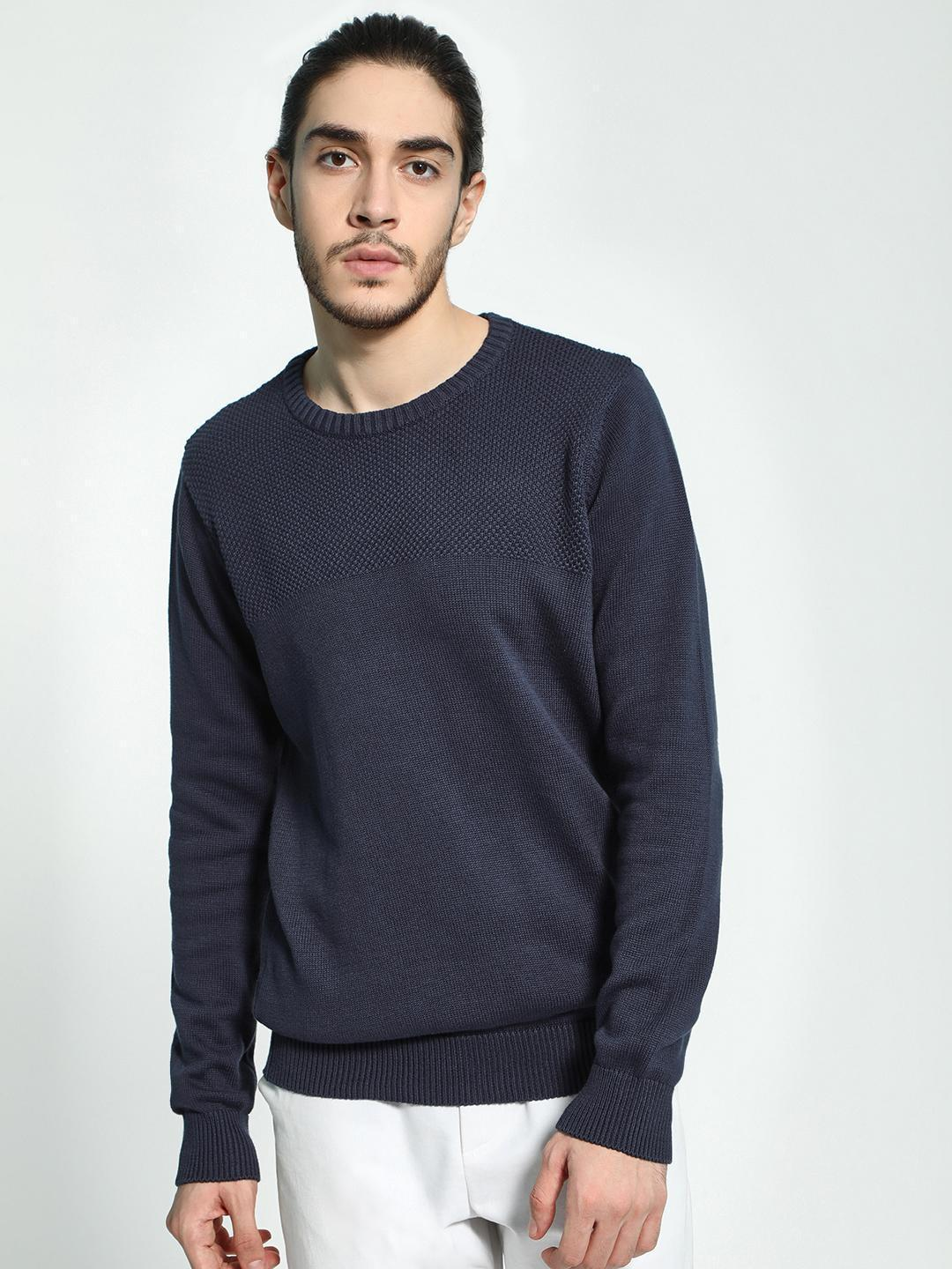 Akiva Blue Yoke Self Design Knitted Pullover 1