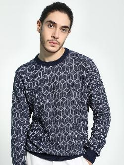 Akiva Diamond Structure Self Design Pullover