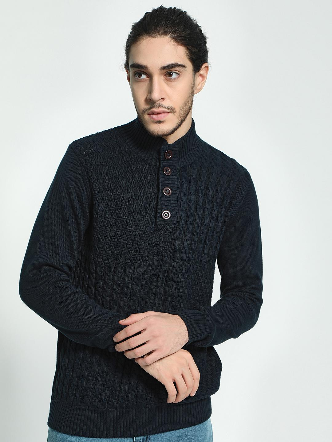 Akiva Navy High Neck Knitted Pullover 1
