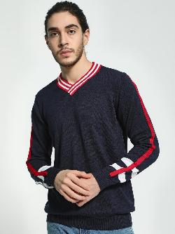 Akiva Contrast Striped Rugby Pullover