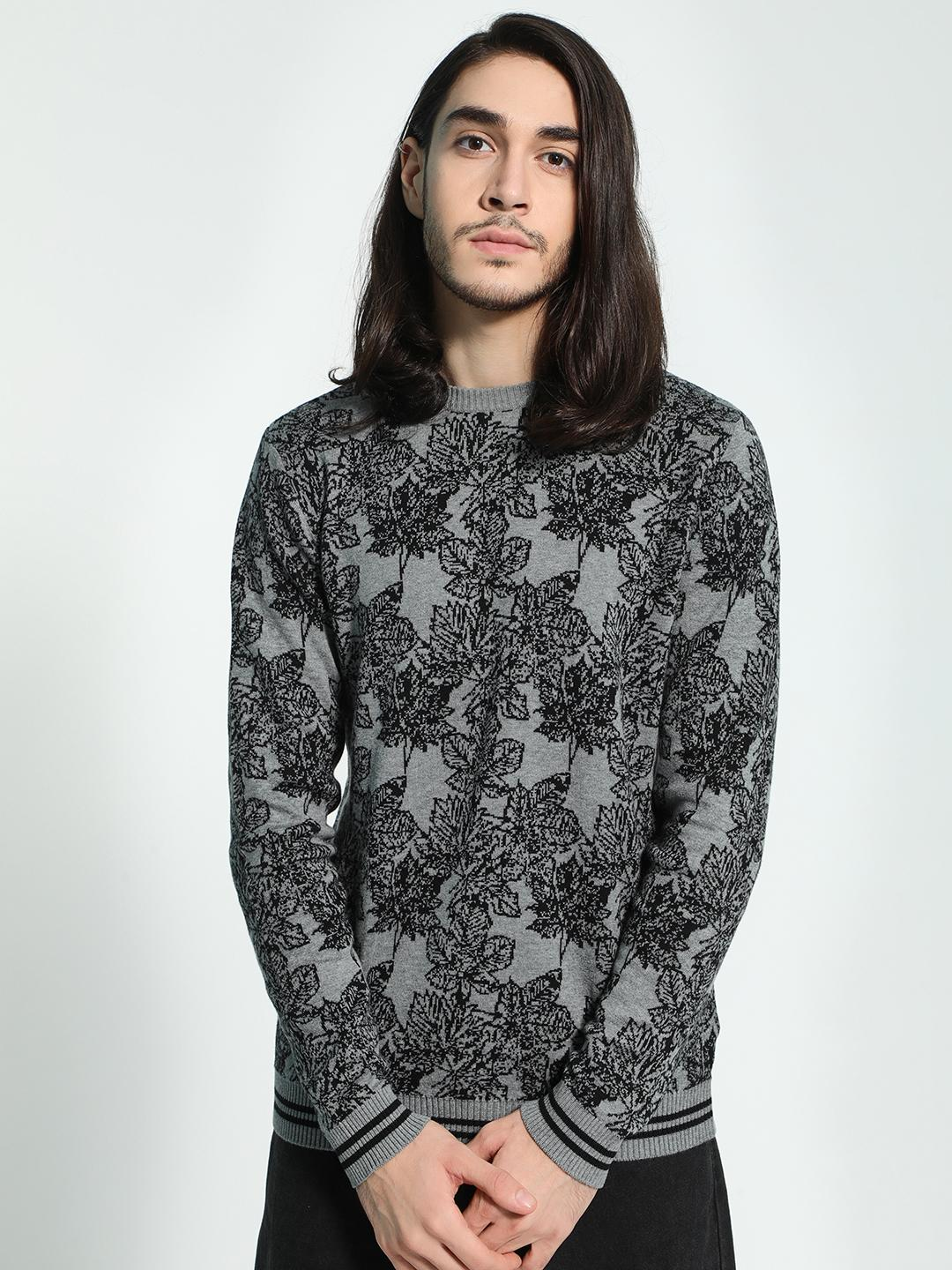 Akiva Grey All Over Floral Print Pullover 1
