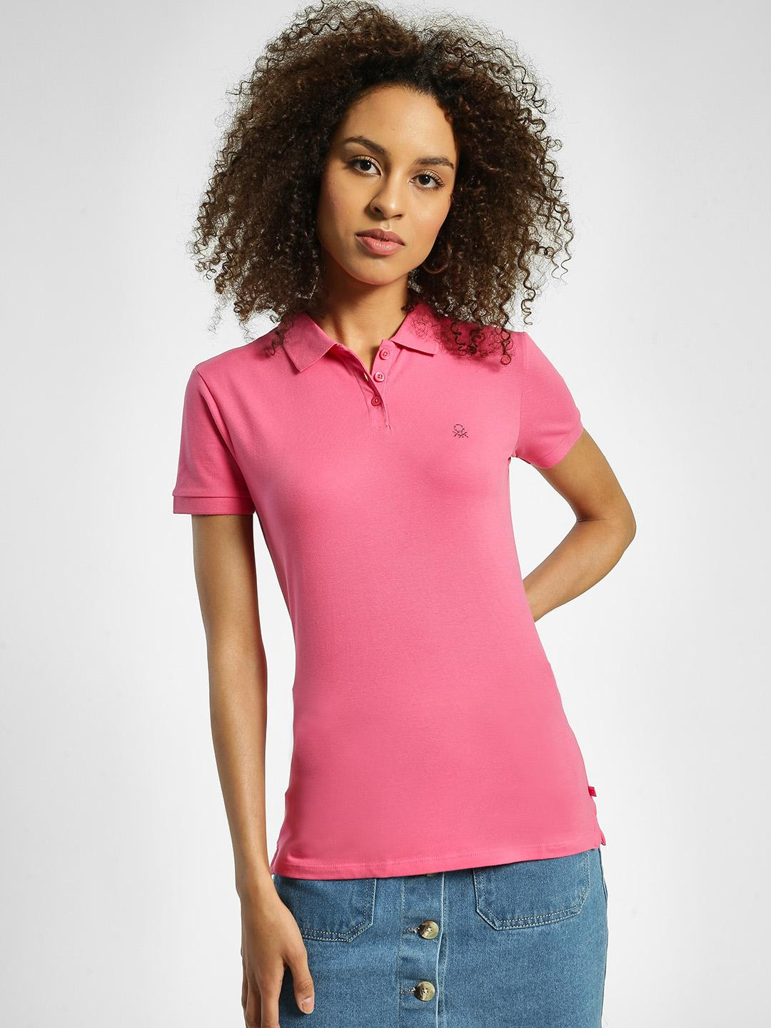 United Colors of Benetton Pink Basic Logo Polo T-Shirt 1