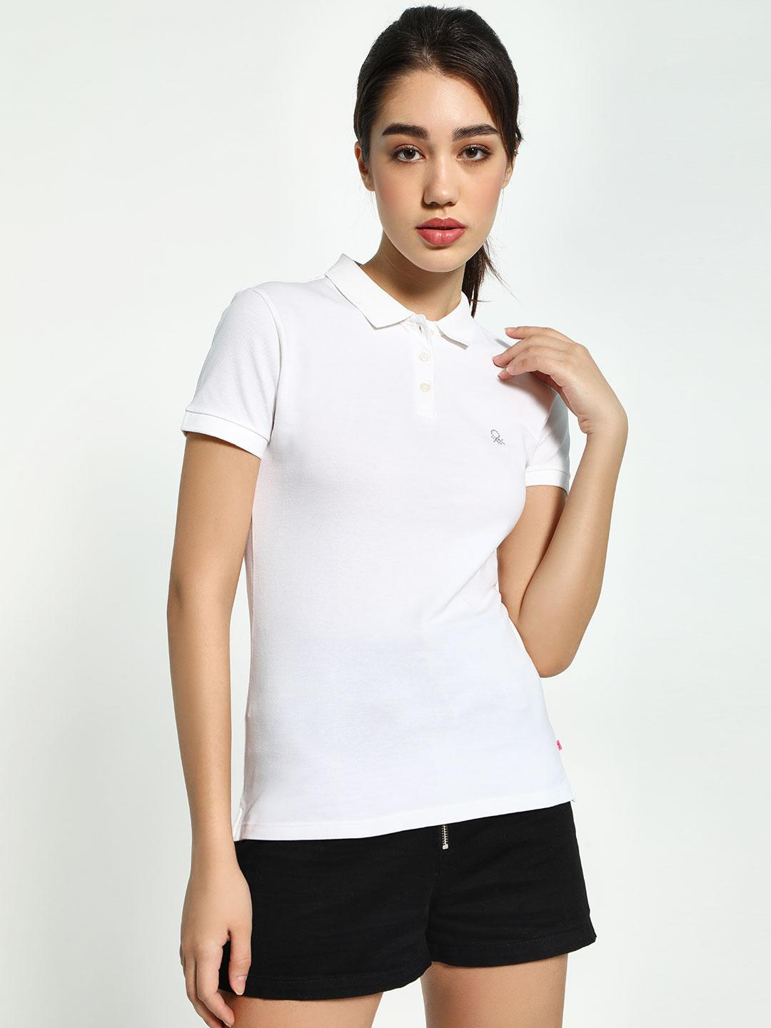United Colors of Benetton White Basic Logo Polo T-Shirt 1
