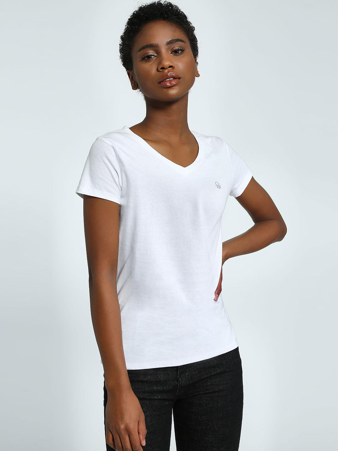United Colors of Benetton White Basic V-Neck T-Shirt 1