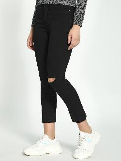 K Denim KOOVS Knee-Ripped Cropped Skinny Jeans