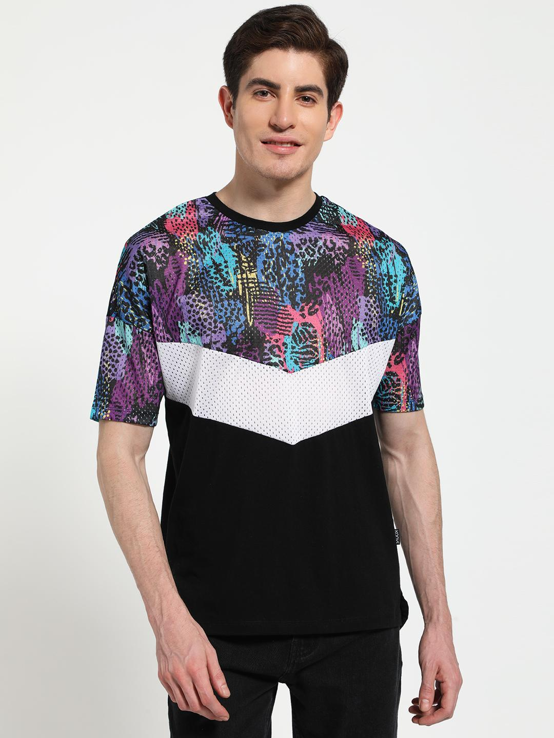 KOOVS Multi Animal Print Collage Chevron T-Shirt 1