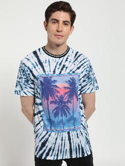 KOOVS Text Palm Print Tie-Dye T-Shirt