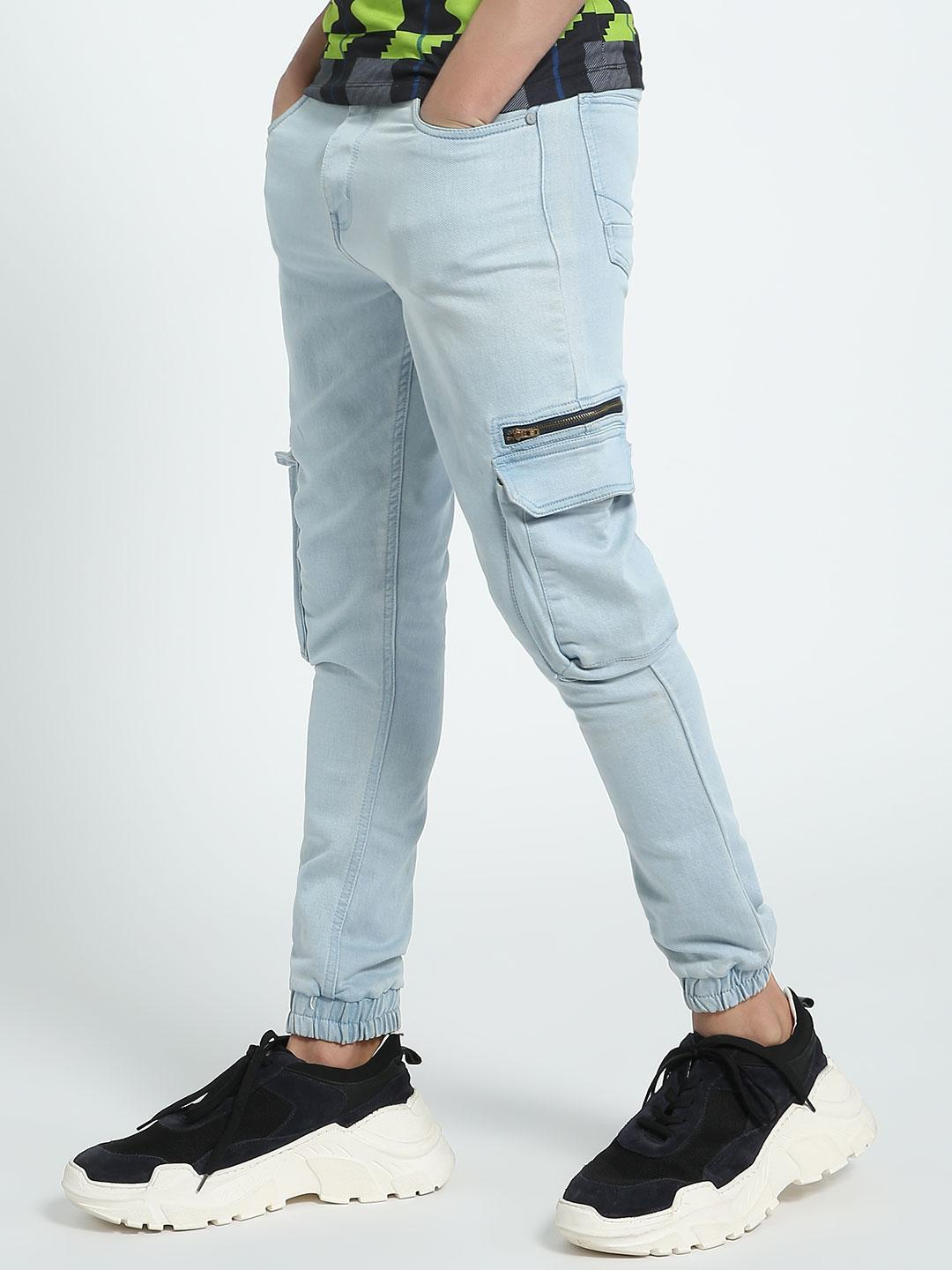 K Denim Blue KOOVS Cargo Pocket Denim Joggers 1