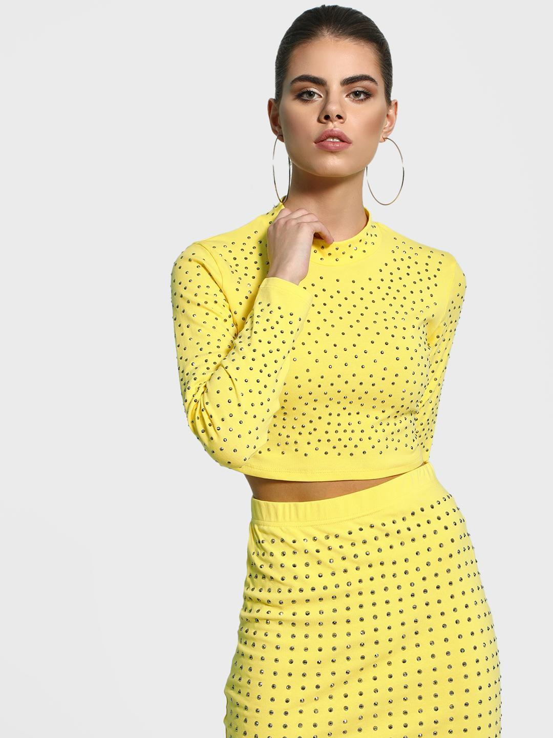 KOOVS Yellow Stud Embellished Crop Top 1