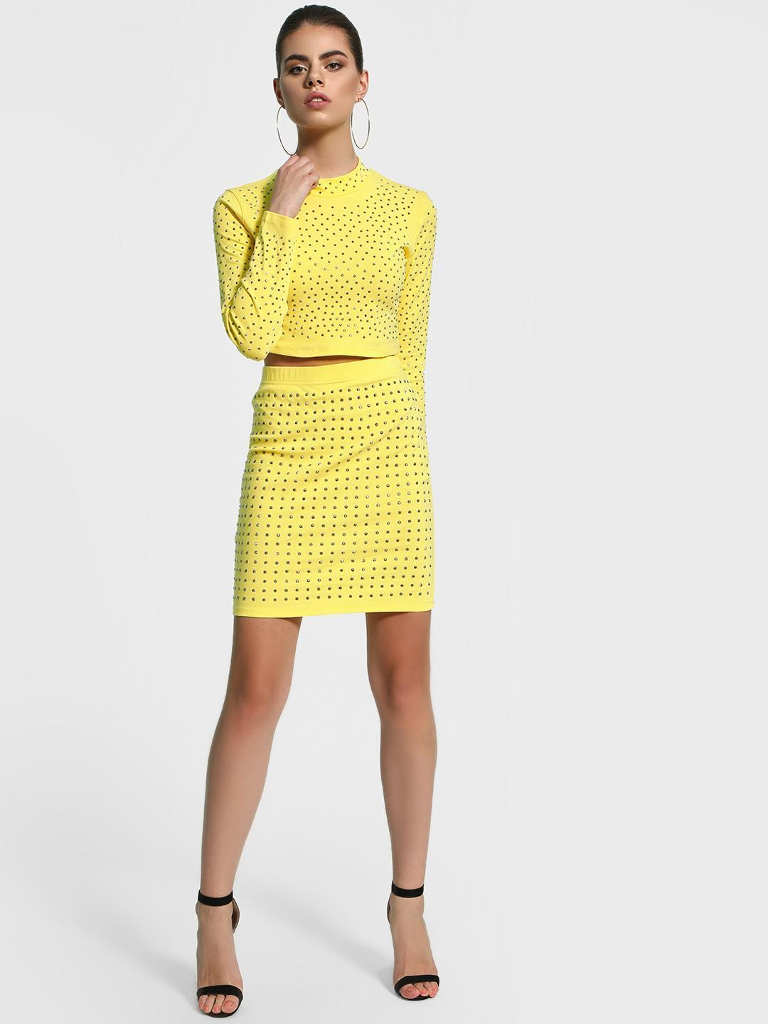 KOOVS Yellow Stud Embellished Mini Skirt 1