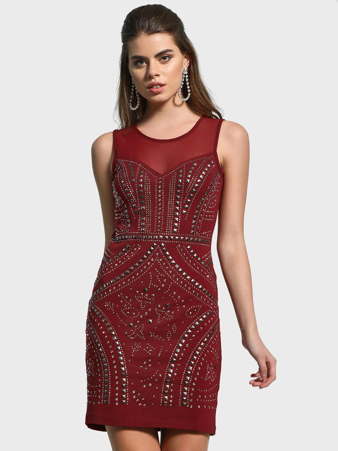 KOOVS Maroon Mesh Stud Embellished Bodycon Dress 1