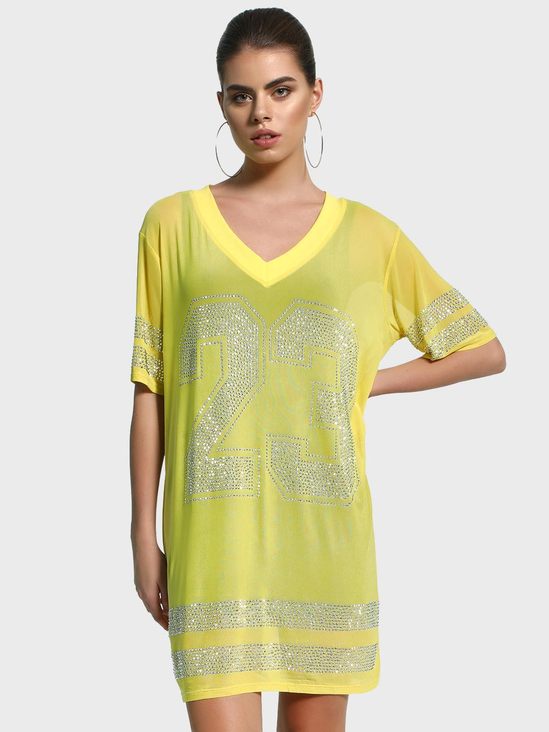 KOOVS Yellow Stud Embellished Mesh T-Shirt Dress 1