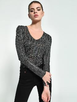 KOOVS Diamante Embellished V-Neck Bodysuit