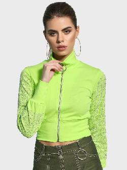KOOVS Skull Diamante Embellished Crop Jacket