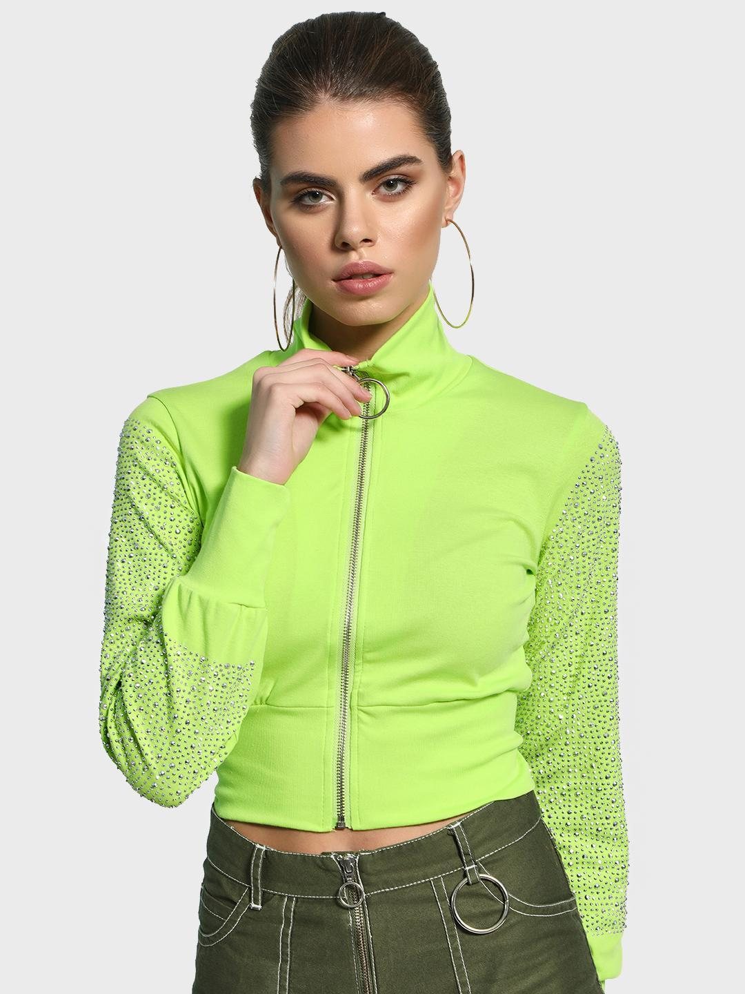 KOOVS Green Skull Diamante Embellished Crop Jacket 1