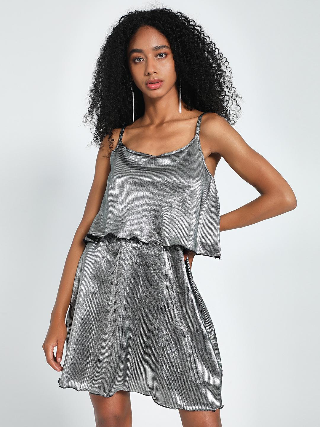 KOOVS Silver Metallic Plisse Skater Dress 1