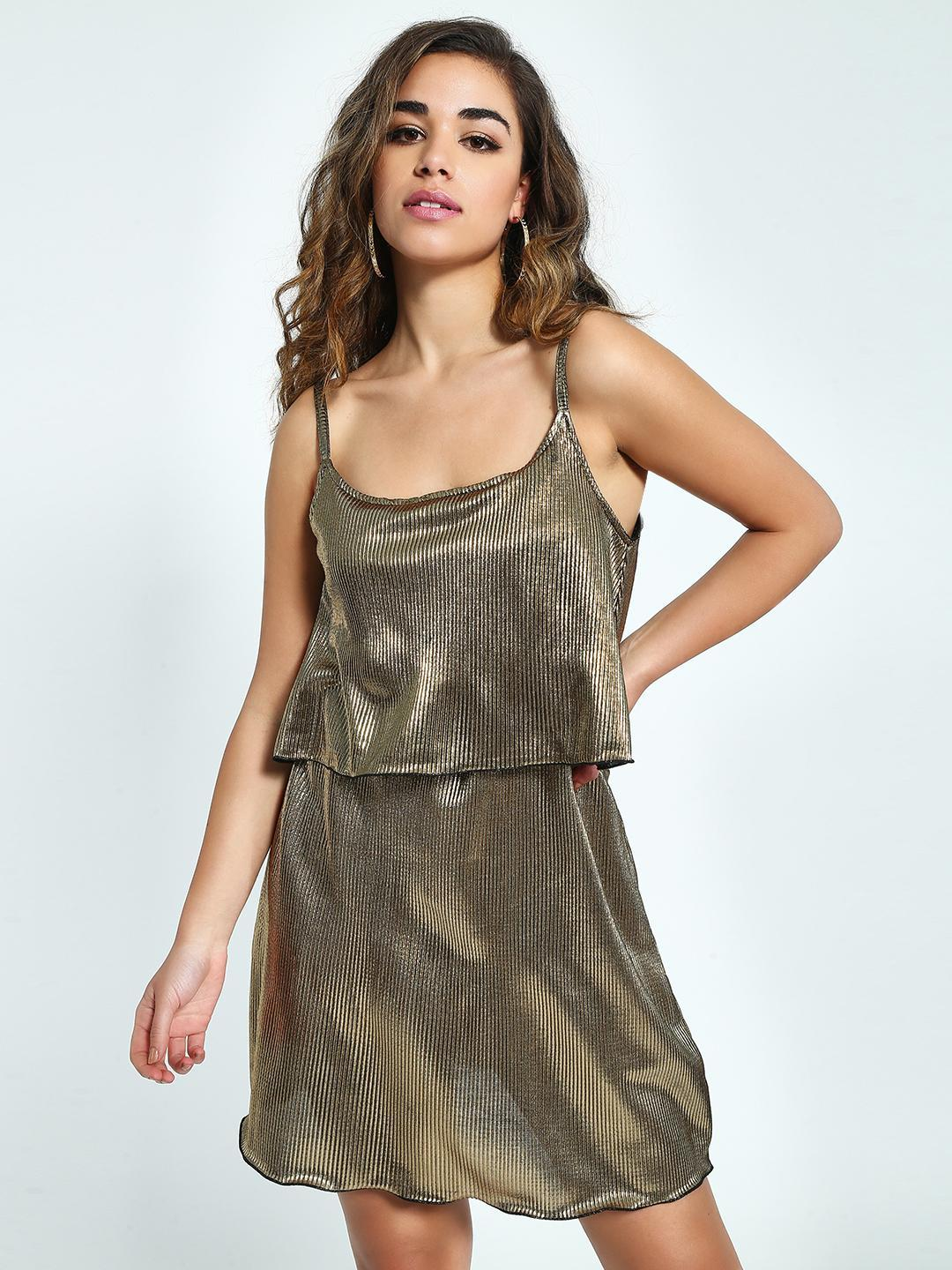 KOOVS Gold Metallic Plisse Skater Dress 1