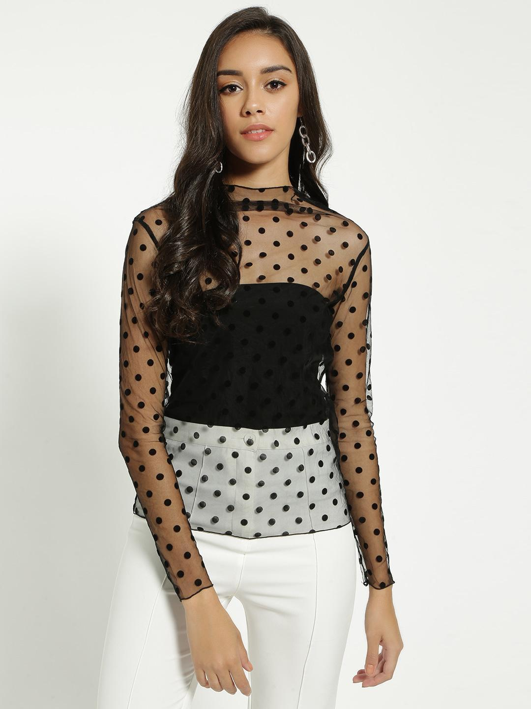 EmmaCloth Black All Over Mesh Blouse 1