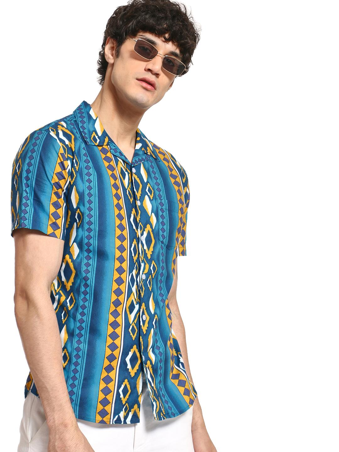 Spring Break Blue Aztec Print Cuban Collar Shirt 1