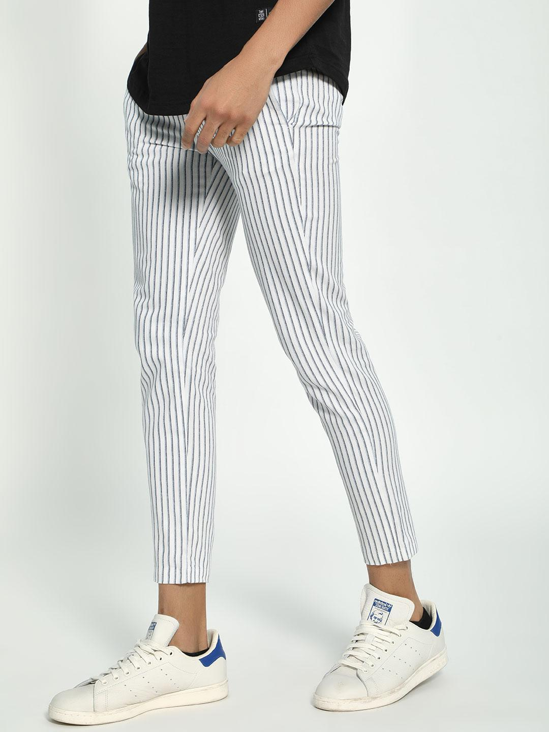 Spring Break Multi Vertical Stripe Cropped Drawcord Trousers 1