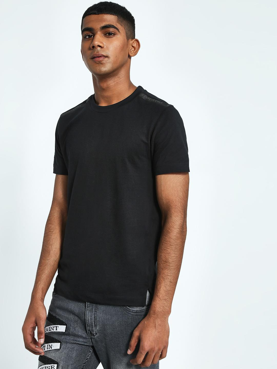 Kenneth Cole Black Shoulder Logo Tape T-Shirt 1