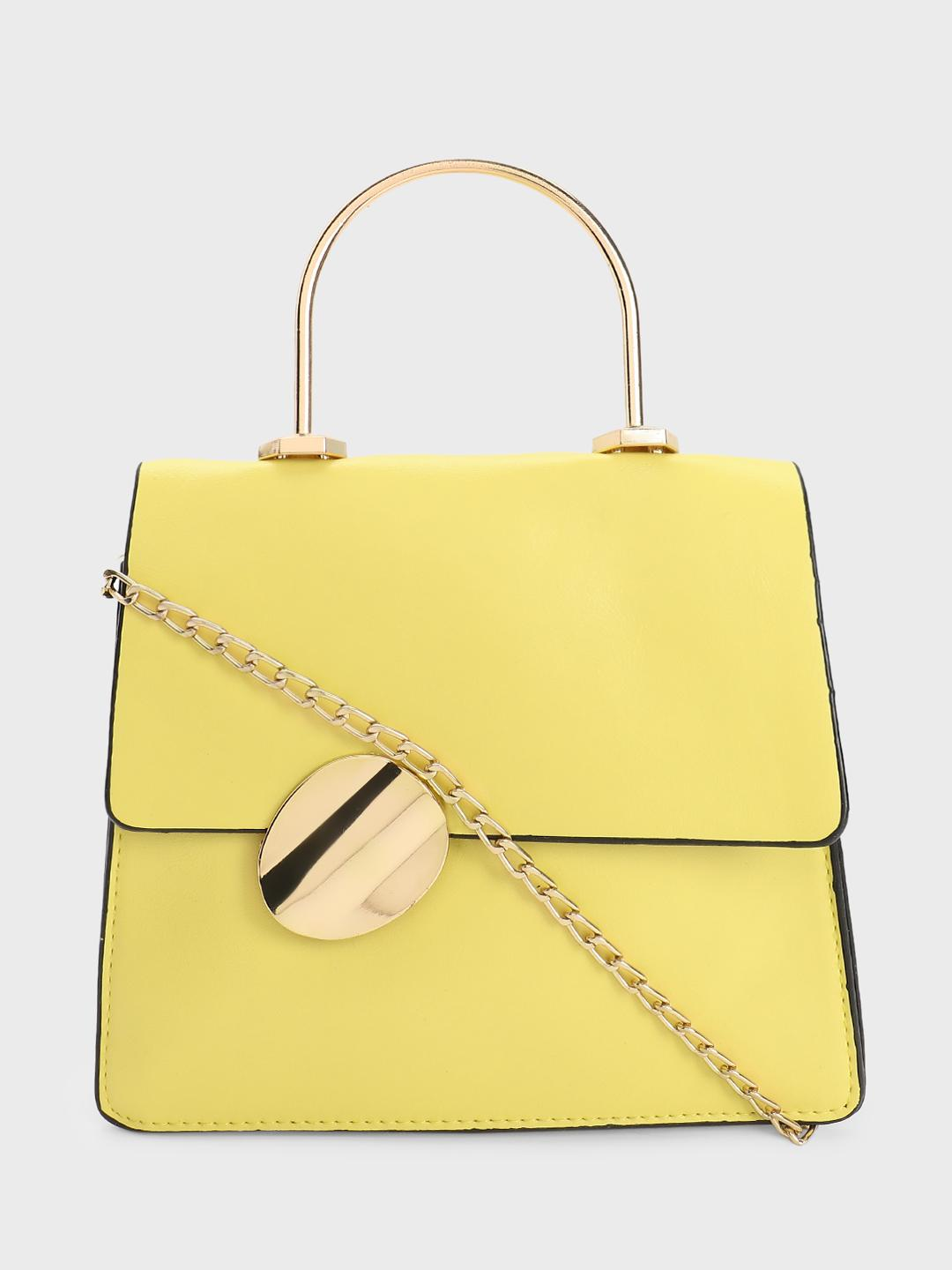 Style Fiesta Yellow Metal Handle Sling Bag 1